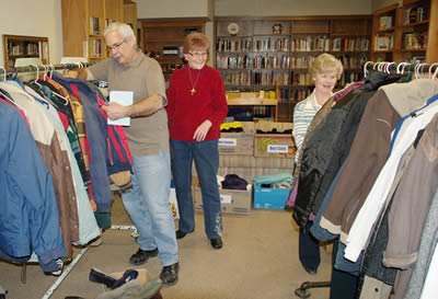 Setting up the Clothing Bank in the Library