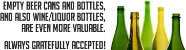 empty beer/wine/liquor containers also accepted