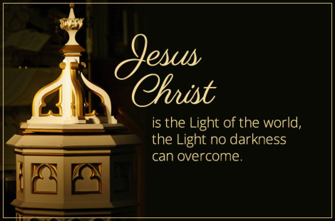 (Baptismal font) Jesus Christ is the Light of the World, the Light no darkness can overcome.